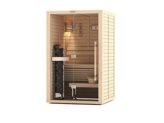 Сауна в сборе SAWO 1414LS-PD-G (1,4м х 1,4м, кедр, полностью стеклянная стена, дизайн Piano, левая)