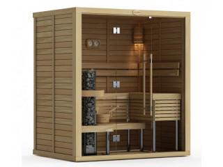 Сауна в сборе SAWO 1420ML-PA-G (1,4м х 2,0м, осина, полностью стеклянная стена, дизайн Piano, левая)