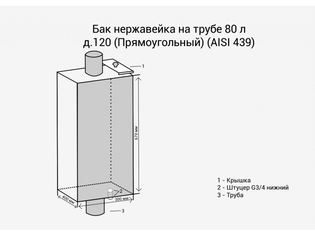 Бак нержавейка на трубе 80л д.120 (прямоугольный) (aisi 439)