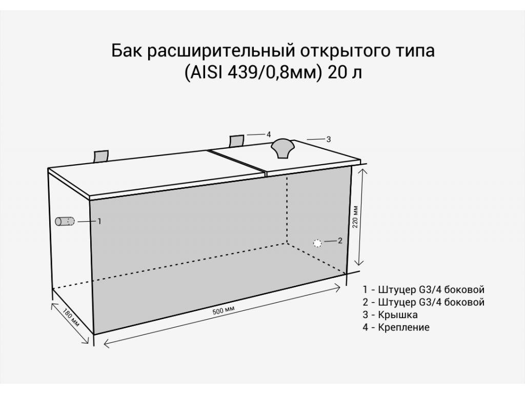 Бак расширительный открытого типа (aisi 439/0,8мм) 20л