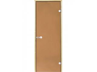 Дверь стеклянная Harvia 7х19 (коробка ольха, стекло бронза, артикул D71901L)