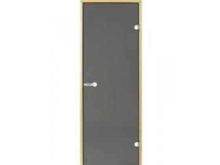Дверь стеклянная Harvia 8х19 (коробка ольха, стекло серое, артикул D81902L)