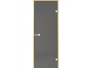 Дверь стеклянная Harvia 8х19 (коробка осина, стекло серое, артикул D81902H)