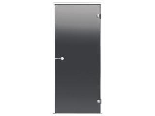 Дверь Harvia с белой алюминиевой коробкой 8х19 (стекло серое, артикул DA81902V)