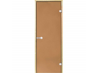 Дверь стеклянная Harvia 8х21 (коробка ольха, стекло бронза, артикул D82101L)
