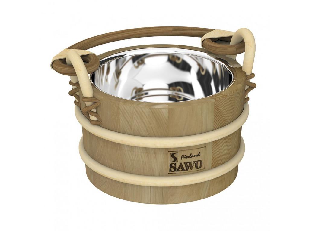 Ведро деревянное sawo 321-md (2 литра, со вставкой из нержавейки) для бани и сауны
