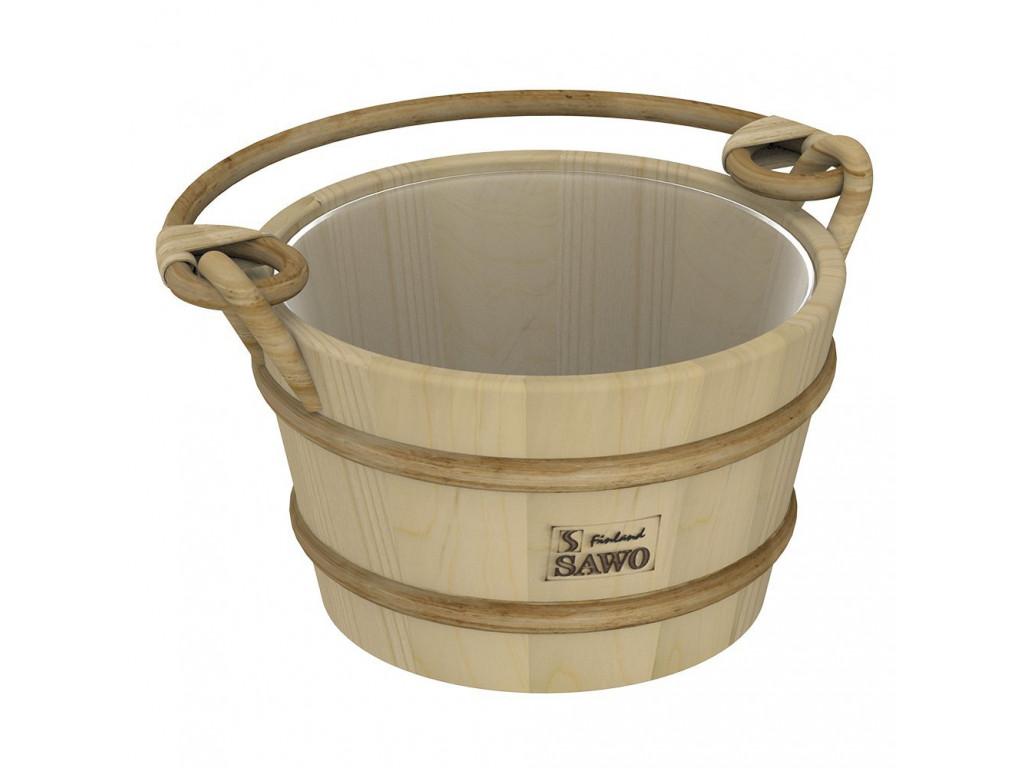 Ведро деревянное sawo 341-p (4 литра, с пластиковой вставкой) для бани и сауны