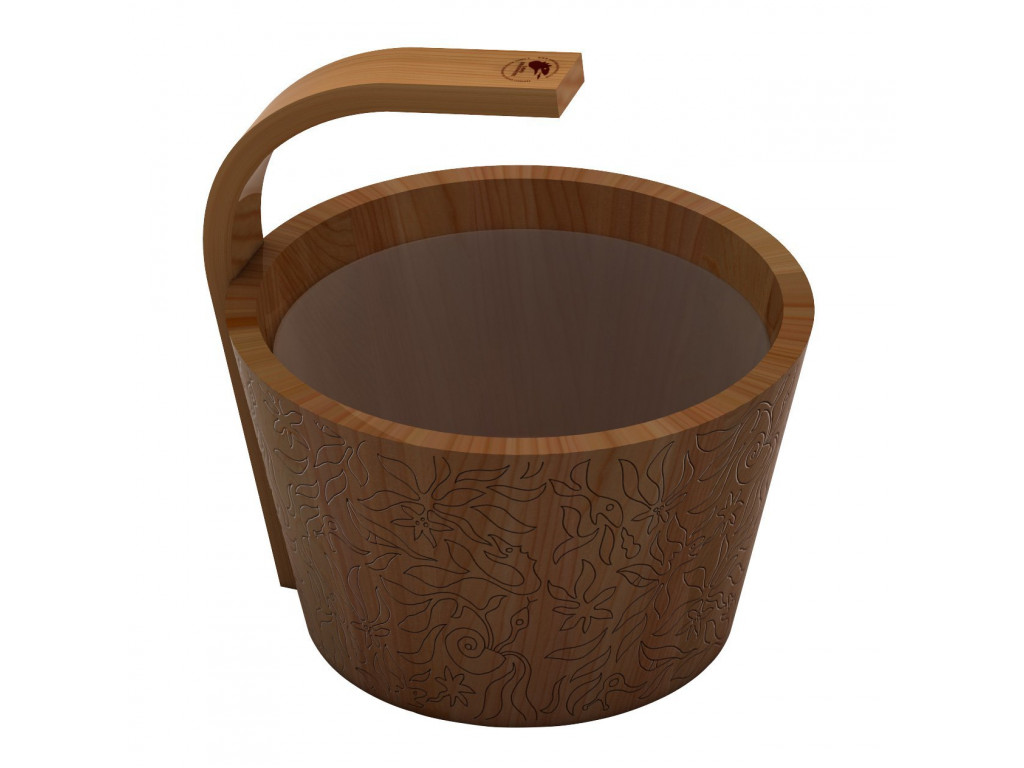 Ведро sawo 342-d-drf (натуральный цвет кедр, 4 литра) для бани и сауны