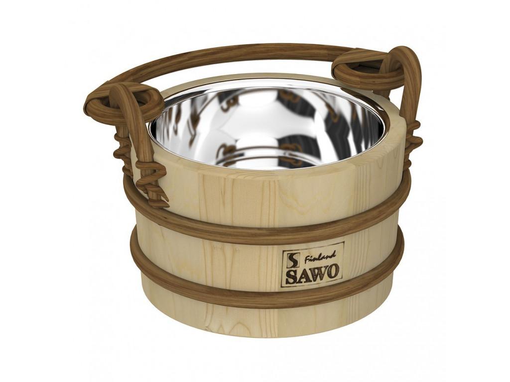 Ведро деревянное sawo 321-mp (2 литра, со вставкой из нержавейки) для бани и сауны