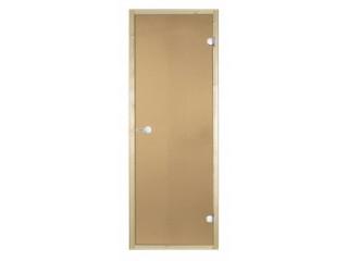Дверь стеклянная Harvia 8х21 (коробка осина, стекло бронза, артикул D82101H)