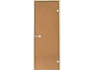 Дверь стеклянная Harvia 8х19 (коробка сосна, стекло бронза, артикул D81901M)