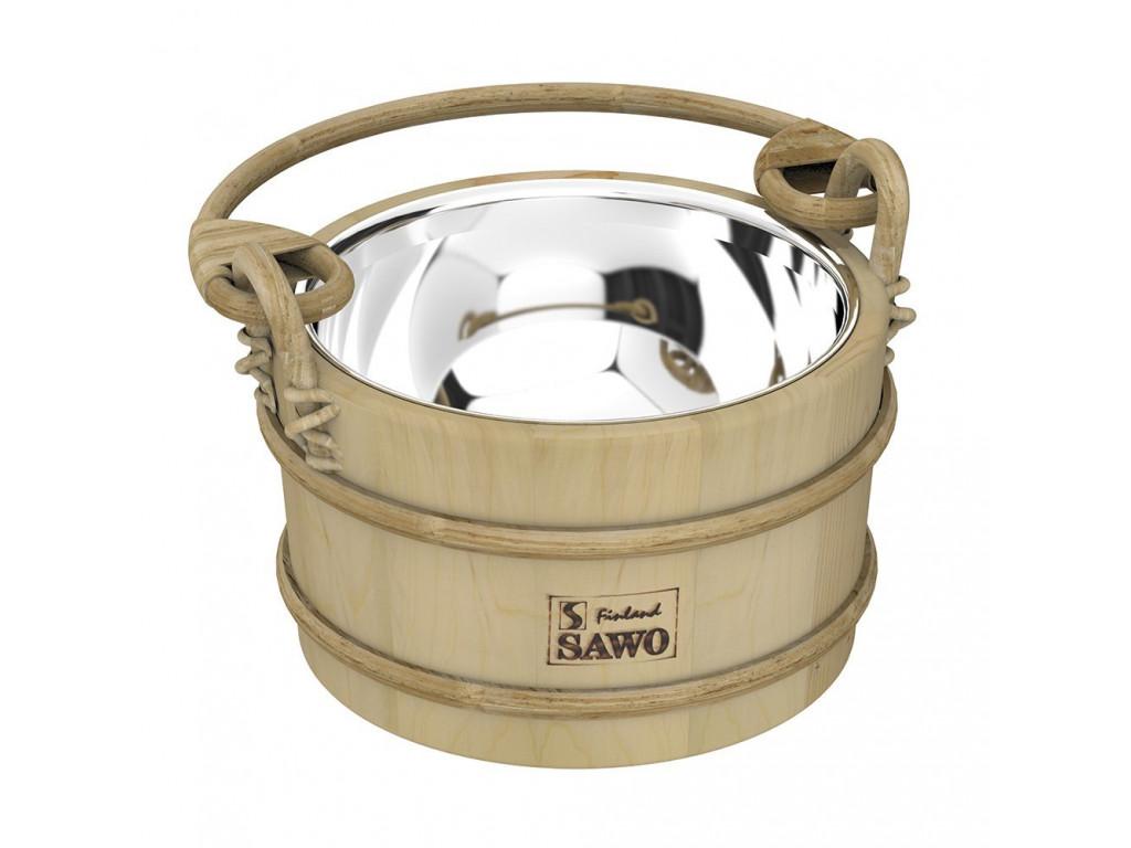 Ведро деревянное sawo 341-mp (3 литра, со вставкой из нержавейки) для бани и сауны