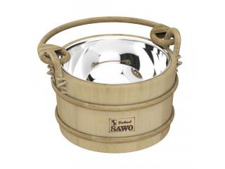 Ведро деревянное SAWO 341-MP (3 литра, со вставкой из нержавейки)