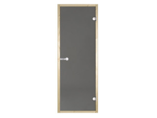 Дверь стеклянная Harvia 7х19 (коробка осина, стекло серое, артикул D71902H)