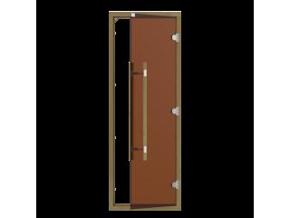 Дверь SAWO 741-4SGD 7/19 (бронза с порогом, кедр, прямая ручка с металлической вставкой)