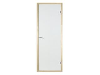 Дверь стеклянная Harvia 8х19 (коробка осина, стекло прозрачное, артикул D81904H)