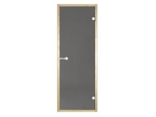 Дверь стеклянная Harvia 8х21 (коробка осина, стекло серое, артикул D82102H)