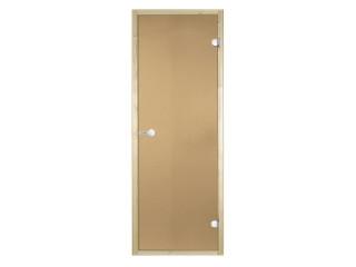 Дверь стеклянная Harvia 7х19 (коробка осина, стекло бронза, артикул D71901H)