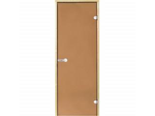 Дверь стеклянная Harvia 8х19 (коробка ольха, стекло бронза, артикул D81901L)