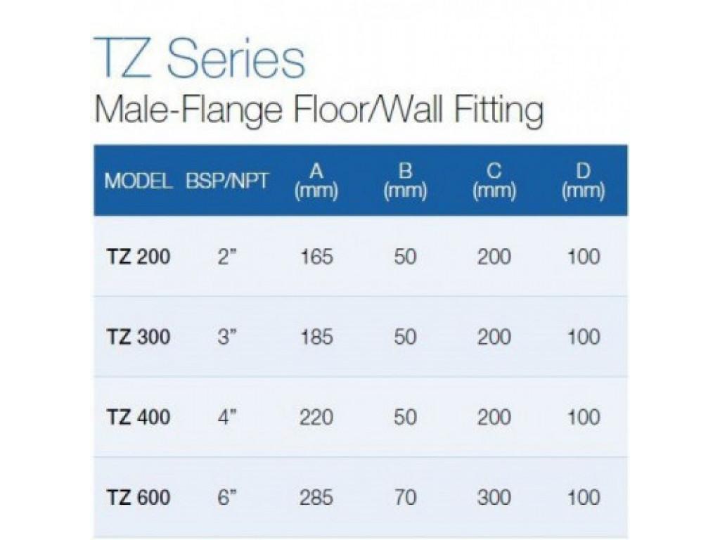 Male-flange floor/wall fitting tz-300