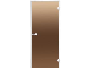 Дверь Harvia с белой алюминиевой коробкой 7х19 (стекло бронза, артикул DA71901V)