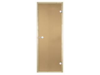Дверь стеклянная Harvia 7х19 (коробка сосна, стекло бронза, артикул D71901M)