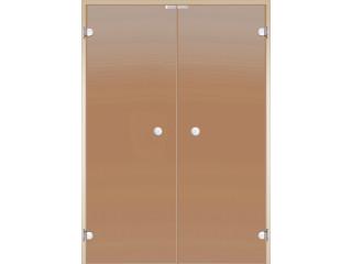 Дверь Harvia двойная стеклянная 17х21 (коробка ольха/осина, стекло бронза)