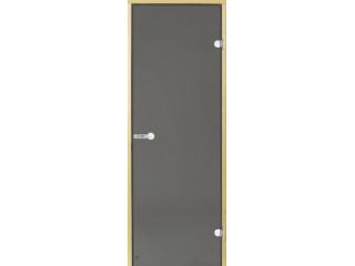 Дверь стеклянная Harvia 7х19 (коробка сосна, стекло серое, артикул D71902M)